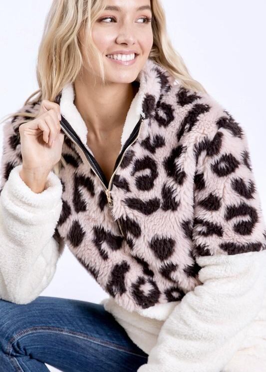 Blush Leopard Faux Fur Pull Over