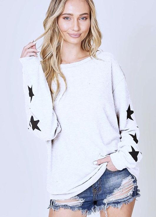 White Black Star Print Sleeve Sweater