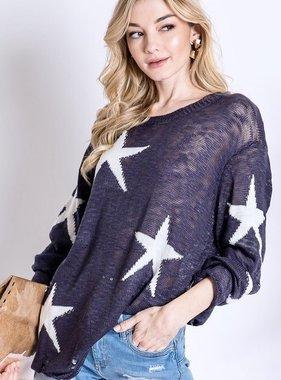 Navy Star Printed Sweater