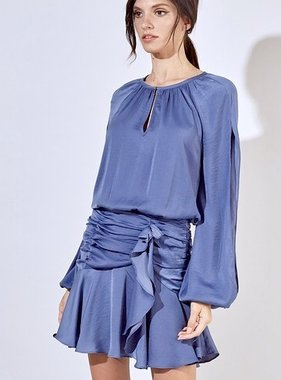Faded Blue Ruched Dress