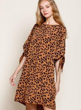 Bronze Leopard Tie Sleeve Dress