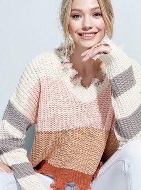Blush Color Block Distressed Sweater