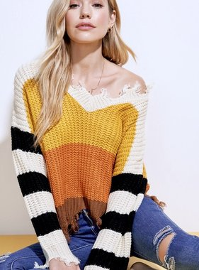 Amber Color Block Distressed Sweater