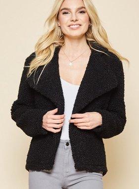 Black Fur Overlap Jacket