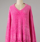 Candy Pink Distressed Chenille Sweater