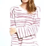 Pink Zebra V-Neck Sweater