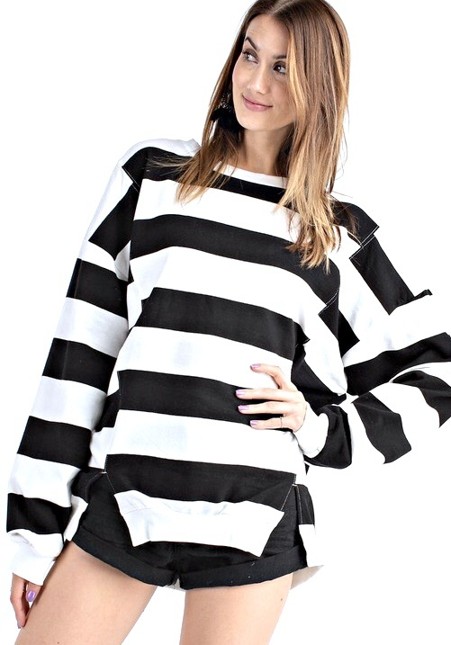 Black LS Rugby Striped Top