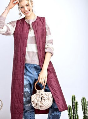 Wine Long Quilted Vest