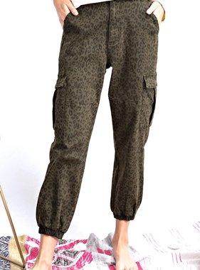 Olive Leopard Cargo Pants