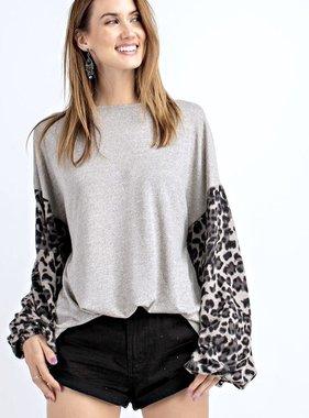 Mushroom Leopard Contrast Top
