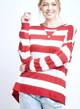Red/White Striped Loose Fit LS Top