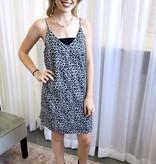 Grey/Blue Leopard Satin Dress