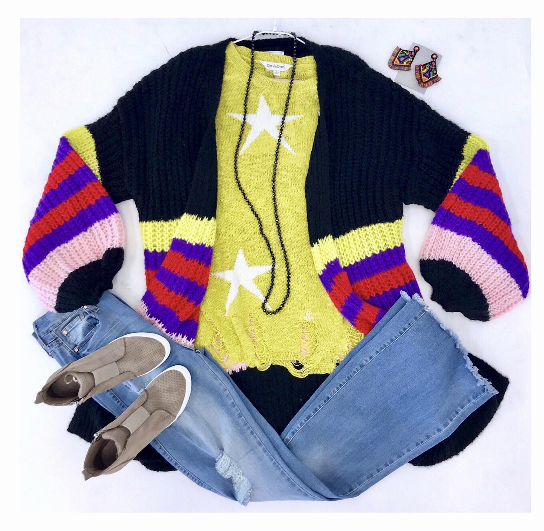 Black Neon Color Block Cardigan