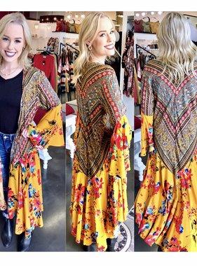 Mustard Combo Kimono