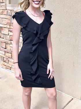 Black Ruffled Body Con Dress