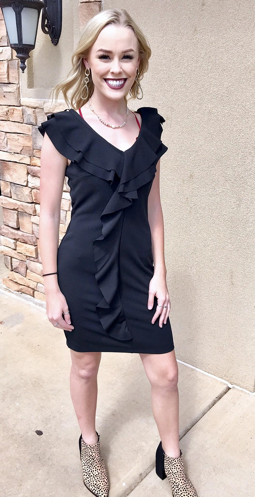 Black Ruffled Body Con Dress