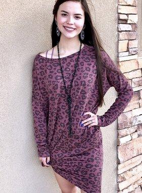 Mauve Leopard Hi-Low Dress