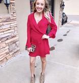 Wine LS Crossover Dress