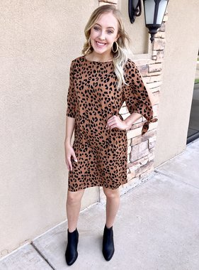 Bronze Leopard Tie Sleeve Dress