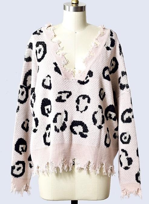 Blush Leopard Distressed Sweater