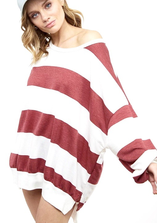 Chilly Nights Burgundy & White Striped Sweater