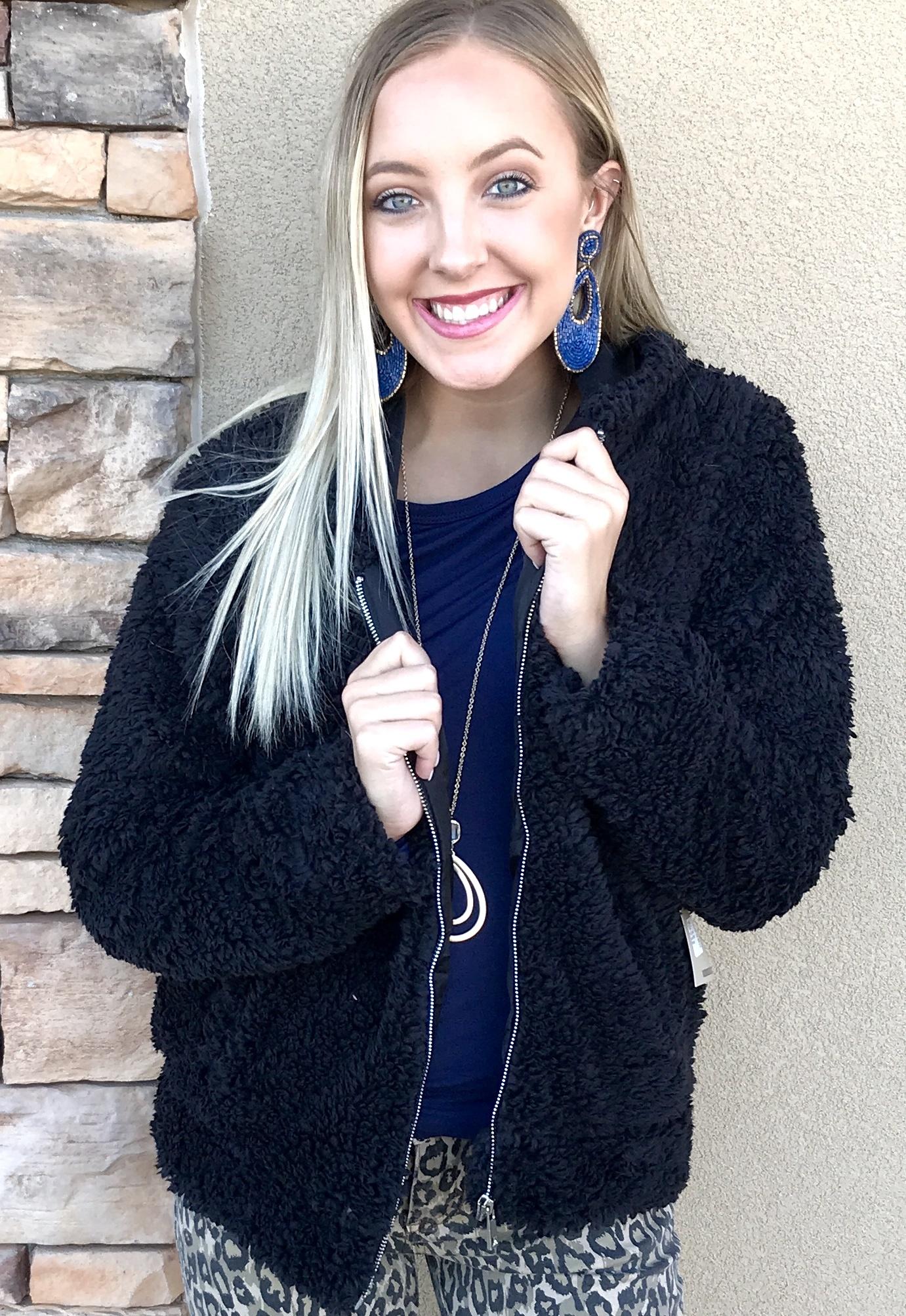 Fur Zip Hood Jacket Black
