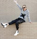Black/White Popcorn Star Sweater