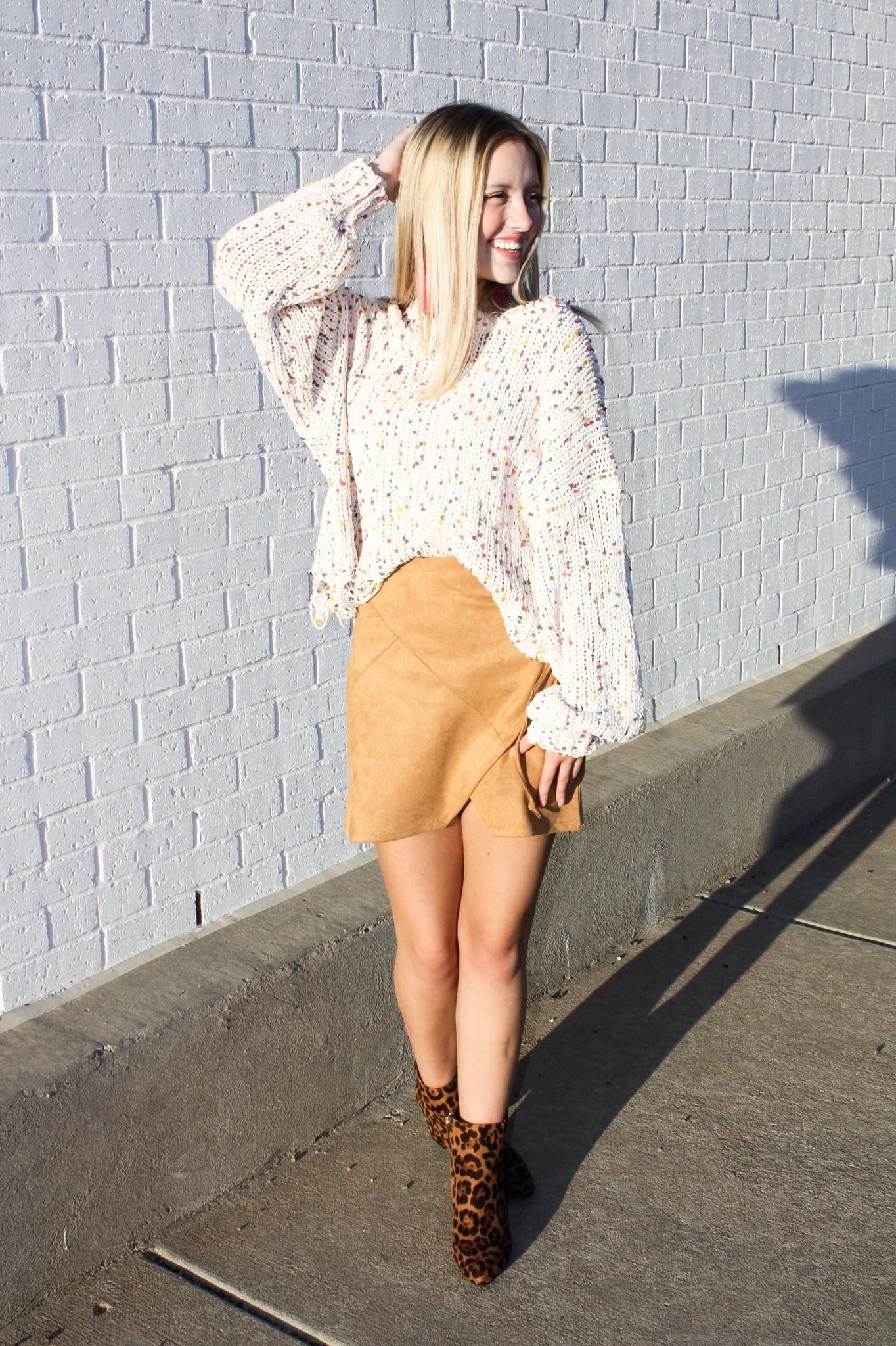 Multi Color Distressed Crop Sweater