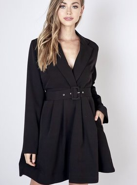 Black Plunging Neckline Dress
