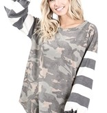 Camo Top with Striped Balloon Sleeve