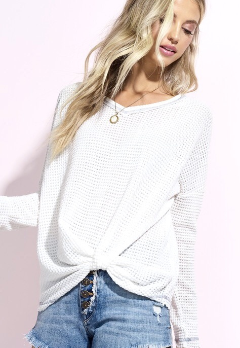 White Casual Knit Tie Top