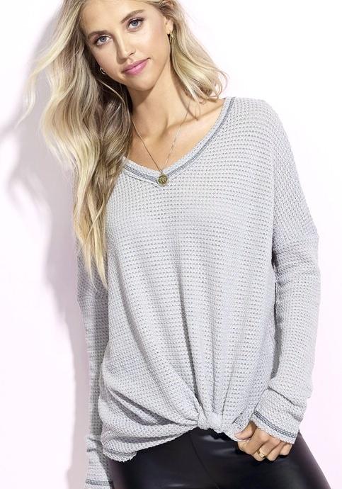 Grey Casual Knit Tie Top