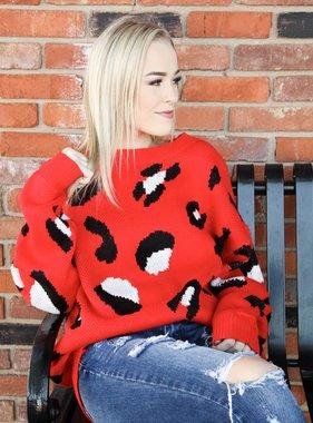 Round Neck Leopard Print Sweater Red