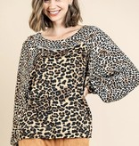 Camel Mix LS Top with Balloon Sleeve