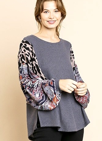 Charcoal Top with Multi Print Balloon Sleeve
