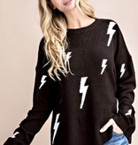 Black Lightening Bolt Sweater