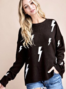 Black Lightening Bolt Sweater