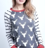 Charcoal/Red Reindeer Striped Top
