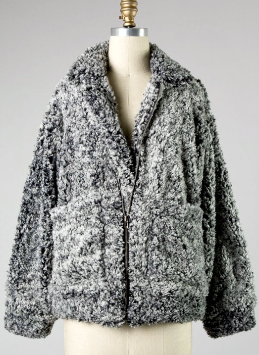 Charcoal Sherpa Jacket with Pockets