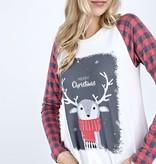 Ivory Plaid Reindeer Top