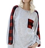 Grey LS Top with Buffalo Plaid Pocket