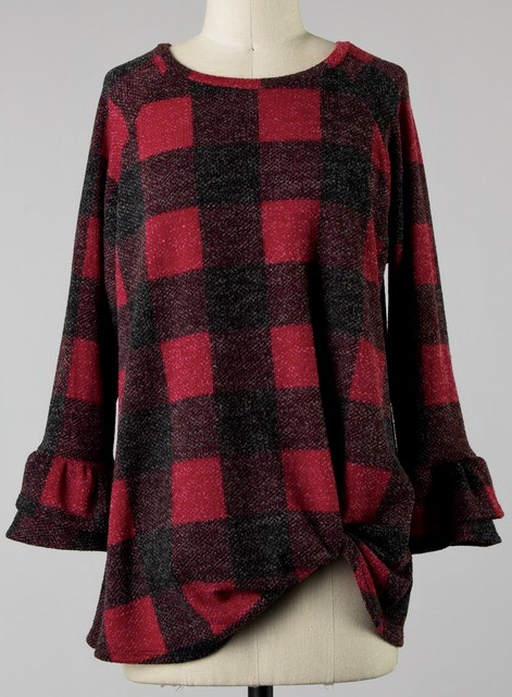 Red Checkered LS Top w/ Front Twist
