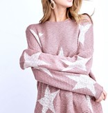 Mauve Star Print Knitted Sweater