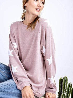 Rose Sweater w/ Star Patched Sleeves