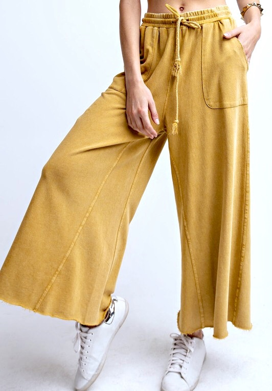 Mustard Wide Leg Cropped Pant