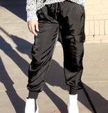 Black Satin Jogger Pants
