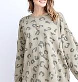 Sage Grey Leopard Sweater