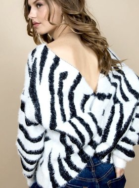 White Zebra Twisted Sweater