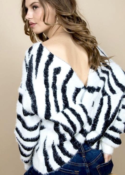 White Zebra Twisted Sweater