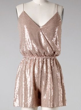 Rose Gold Sequin Cami Romper